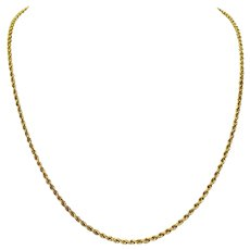 """14k Yellow Gold 11g Solid Diamond Cut 2.5mm Rope Chain Necklace 20.5"""""""