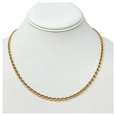 14k Yellow Gold Hollow Gucci Mariner Anchor Link Chain Necklace Italy 18""