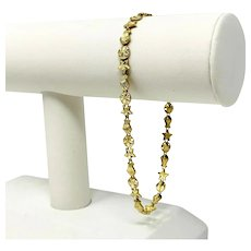 10k Yellow Gold Long Sea Shell Charm Link Chain Bracelet 9""