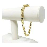 "10k Yellow Gold Long Light Open Cylinder Link Chain Bracelet 8.5"""
