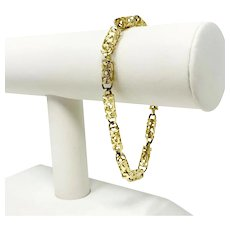 10k Yellow Gold Long Light Open Cylinder Link Chain Bracelet 8.5""