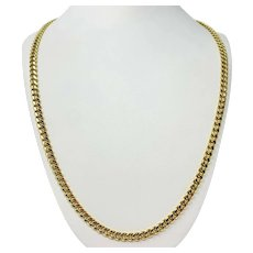"""14k Yellow Gold 25.7g Hollow 6mm Cuban Curb Link Chain Necklace 26.5"""""""