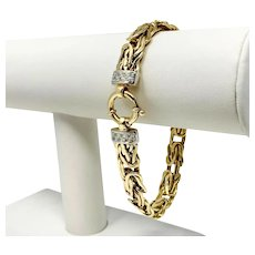 14k Yellow Gold and Diamond 10mm Byzantine Link Chain Bracelet Italy 8""