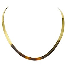 """14k Yellow Gold Thin 6mm Herringbone Link Chain Necklace Italy 20"""""""