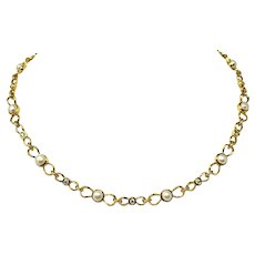 Tiffany & Co. 18k Yellow Gold Diamond and Pearl Link Chain Necklace 16.5""