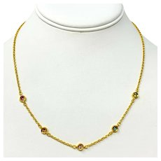 """24k Solid Yellow Gold and Multi Gemstone Vintage Link Chain Necklace 18"""""""