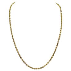 """14k Yellow Gold 30g Solid Diamond Cut 3.5mm Rope Chain Necklace 24"""""""