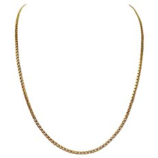 19k Portugese Yellow Gold Solid 19g Double Circle Curb Link Chain Necklace 28""