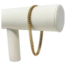 "19k Portuguese Yellow Gold Ladies Beaded Floral Fancy Link Chain Bracelet 8"""