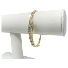 "14k Yellow Gold and .96ct Diamond Ladies Hinged Bangle Bracelet 7"""