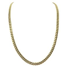"""14k Yellow Gold 37.7g Hollow 6.5mm Cuban Curb Link Chain Necklace 29"""""""