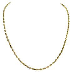 14k Yellow Gold 15.3g Solid 3.5mm Rope Chain Necklace 21""
