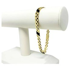 """10k Yellow Gold and Onyx Panther Link Chain Bracelet 8.5"""""""