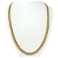 10k Gold Two Tone 36g Hollow Diamond Cut 8mm Curb Link Chain Necklace 32""