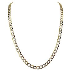 10k Gold Two Tone 29.6g Hollow Diamond Cut 8mm Curb Link Chain Necklace 30""
