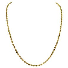 10k Yellow Gold Hollow Light 4.5mm Rope Chain Necklace Turkey 24""