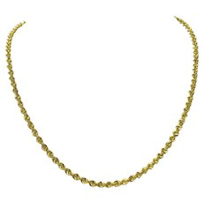 """14k Yellow Gold 16.6g Solid Diamond Cut 3.5mm Rope Chain Necklace 20"""""""