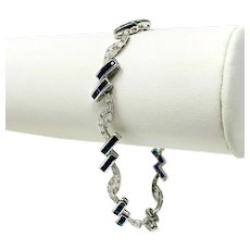 18k White Gold Diamond and Blue Sapphire Ladies Bracelet 7.5""