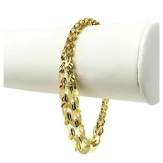 14k Yellow Gold Light Geometric Graduated Fancy Link Ladies Bracelet 7""