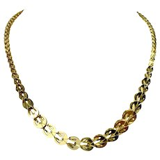 14k Yellow Gold Light Geometric Graduated Fancy Link Ladies Necklace 18""
