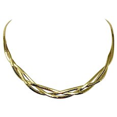 14k Yellow Gold Ladies Braided Weave Omega Link Fancy Necklace Italy 16""