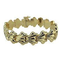 14k Yellow Gold 19.4g Ladies Fancy Shell Design Link Chain Bracelet Italy 7""