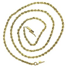 """14k Yellow Gold 9.4g Solid 2mm Rope Chain Necklace 19"""""""