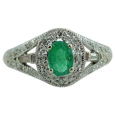 10k White Gold Ladies Emerald and Diamond Ring Size 5