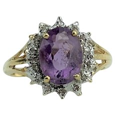 10k Yellow Gold Oval Cut Amethyst and Diamond Halo Ring Size 4