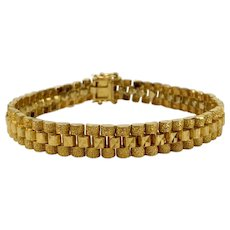 """22k Yellow Gold 32.4g Solid Vintage Diamond Cut Panther Link Chain Bracelet 8"""""""