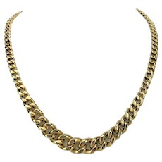 """14k Yellow Gold 31.8g Ladies Graduated Curb Link Chain Necklace Italy 19"""""""