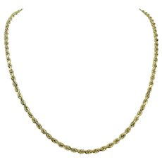 """14k Yellow Gold Hollow 3.5mm Diamond Cut Rope Chain Necklace 20.5"""""""