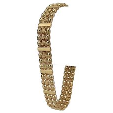 19k Portuguese Yellow Gold 17g Fancy Ladies Chain Link Bracelet 7.5""