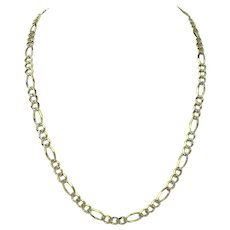 14k Yellow White Gold Two Tone 31g Diamond Cut Figaro Link Chain Necklace 24""