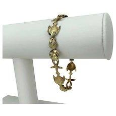 "14k Yellow Gold 10.8g Ladies Beach Shell Ocean Link Chain Bracelet 7.25"""