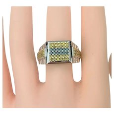 14k White Gold Men's Heavy Yellow and Blue 1.92ct Diamond Ring Size 8.5