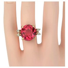 14k Yellow Gold 10.8ct Pink Tourmaline and Diamond Cocktail Ring Size 7