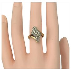 14k Yellow Gold .57ct Diamond Ladies Cluster Bypass Ring Size 6.5