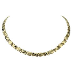 14k Yellow Gold 19.2g Ladies Hugs and Kisses XO Link Necklace 17""