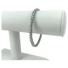 18k White Gold 3.4ct Diamond Flex Bangle Bracelet VS1 G