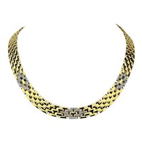 18k Yellow Gold Heavy 84.4g and .95ct Diamond Panther Link Necklace Italy 17""