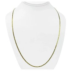 """14k Yellow Gold Braided Weave Serpentine Link Ladies Chain Necklace Italy 24"""""""