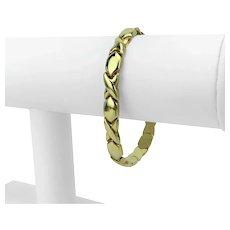 "14k Yellow Gold 11.8g Ladies Hugs and Kisses XO Link Bracelet Italy 7"""