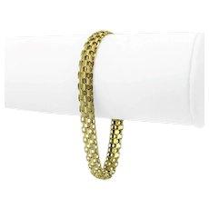 "14k Yellow Gold 9.9g Ladies 8mm Bismark Link Chain Bracelet Italy 7.25"""
