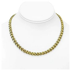 """14k Yellow Gold 35.5g Ladies San Marco Macaroni Link Chain Necklace Italy 16.5"""""""