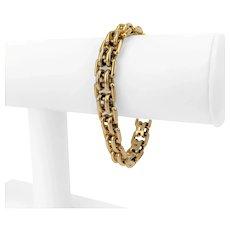 """14k Yellow Gold 47g Ladies 10mm Fancy Buckle Link Bracelet 7"""""""