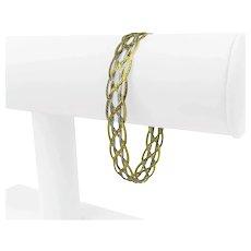 "14k Yellow White Gold Two Tone Braided Herringbone Link Bracelet Italy 7.25"""