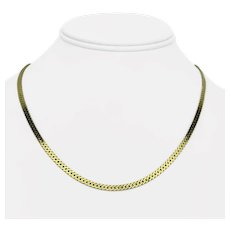 14k Yellow Gold 14.4g Solid 3mm Flat Curb Link Chain Necklace Italy 18""
