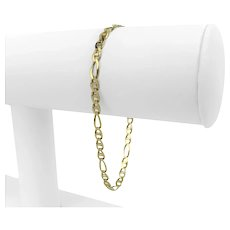 """14k Yellow Gold Light Hollow 4mm Figarucci Link Chain Bracelet Italy 7.5"""""""