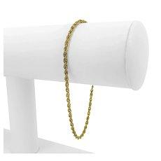 """14k Yellow Gold Light 2.5mm Rope Chain Bracelet 7.75"""""""